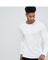 ASOS DESIGN T Sleeve T Shirt With Grandad Neck In White