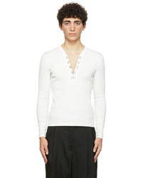 Dion Lee White Hook Henley Long Sleeve T Shirt