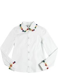 Au Jour Le Jour Cotton Poplin Shirt W Pompoms