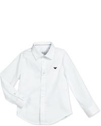 Armani Junior Basic Button Front Poplin Shirt White Size 10 14