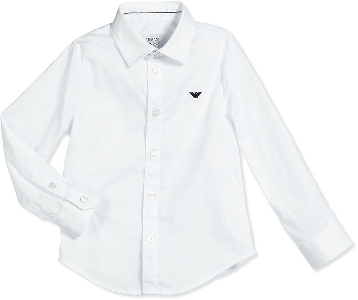 Armani Junior Basic Button Front Poplin Shirt White Size 10 14