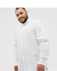 Tommy Hilfiger Big Tall Icon Logo Stretch Poplin Shirt Regular Fit In White
