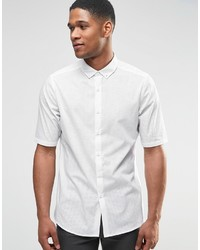 Asos Brand Perforated Shirt In White With Button Down Collar In Regular Fit