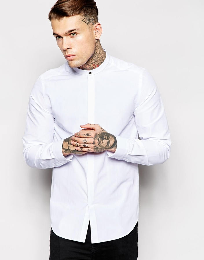 2008bc794a87 ... Asos Brand Shirt With Grandad Collar And Stud Fastening ...
