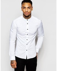 Asos Brand Skinny Fit Shirt With Grandad Collar And Contrast Buttons