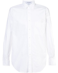 Thom Browne Button Back Long Sleeve Shirt In White Oxford