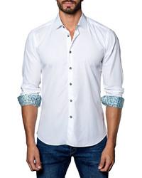 Jared Lang Contrast Facing Textured Sport Shirt White