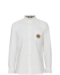 Burberry Embroidered Archive Logo Cotton Oxford Shirt