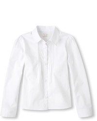 Children's Place Girls Uniform Long Sleeve Pintucked Button Down Collared Top