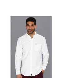 Lacoste Long Sleeve Button Down Oxford Woven Shirt Long Sleeve Button Up White