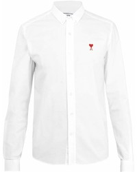 Ami Logo Embroidered Long Sleeved Cotton Shirt