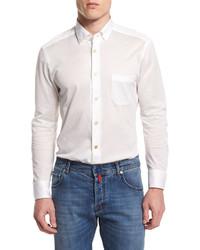 Kiton Long Sleeve Pique Sport Shirt White