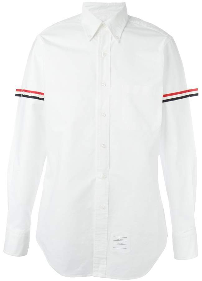 a83d1dc6c25b ... Thom Browne Long Sleeve Shirt With Grosgrain Armbands In White Oxford  ...