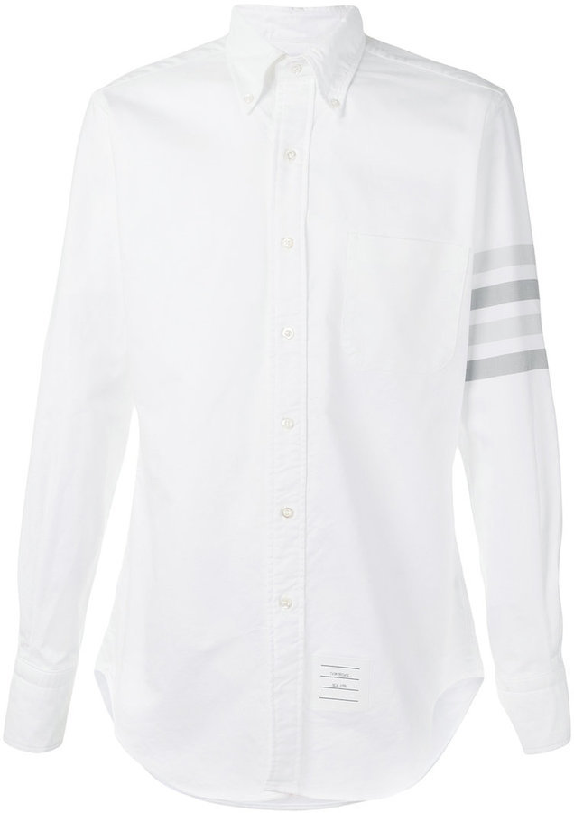 2b85e320859 ... Shirts Thom Browne Long Sleeve Shirt With Medium Grey Woven 4 Bar Stripe  In White Oxford ...