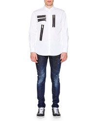 DSQUARED2 Multi Zipper Detail Long Sleeve Shirt White