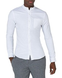 Topman Muscle Fit Band Collar Shirt