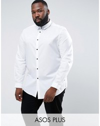 Asos Plus Regular Fit Shirt In White With Contrast Buttons