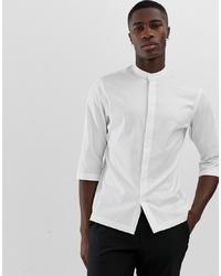 Jack & Jones Premium Kimono Sleeve Longline Shirt In White With Grandad Collar