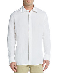 Saks Fifth Avenue Regular Fit Linen Cotton Sportshirt