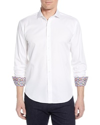 Bugatchi Shaped Fit Floral Cuff Cotton Sport Shirt
