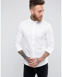 Asos Skinny Sateen Shirt With Stud Button Down Collar In White