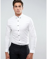 Asos Skinny Shirt In White With Contrast Buttons And Button Down Collar