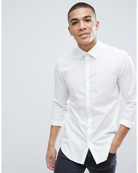 Esprit Slim Fit Cotton Poplin Shirt In White