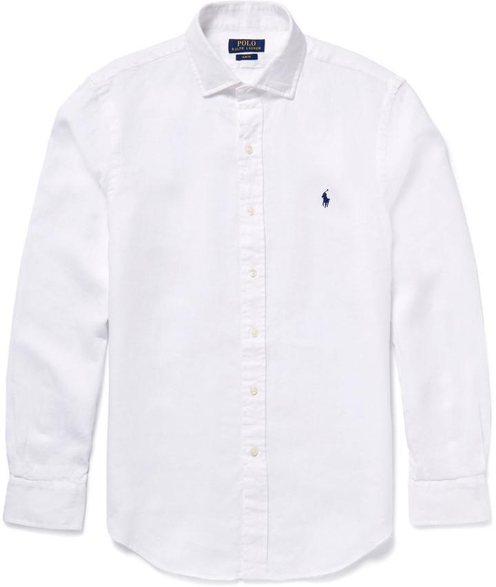 07e9effd Polo Ralph Lauren Slim Fit Linen Shirt, $100   MR PORTER   Lookastic.com