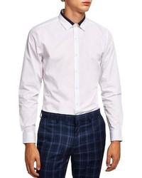 Topman Slim Fit Panel Collar Shirt