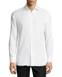 Luciano Barbera Solid Cotton Blend Sport Shirt White
