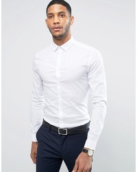 Asos Super Skinny Shirt In White With Button Down Collar
