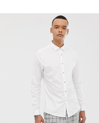 ASOS DESIGN Tall Slim Sa Shirt With Stud Buttons In White