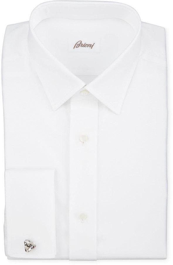 Brioni Twill French Cuff Trim Fit Shirt White