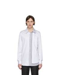 Alexander McQueen White And Black Striped Layered Shirt