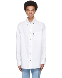Versace White Cotton Medusa Button Shirt