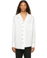 Sulvam White Cotton Open Collar Shirt