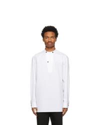 Jil Sander White Organic Cotton Band Collar Shirt