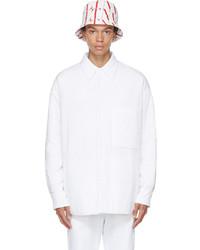 Valentino White Padded Cotton Poplin Shirt