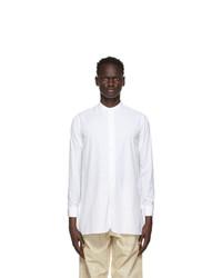 Maison Margiela White Poplin Collarless Shirt