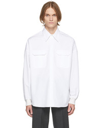Alexander McQueen White Poplin Dropped Shoulder Military Shirt