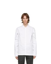 Neil Barrett White Poplin Zip Detail Shirt