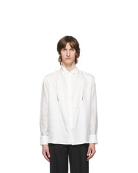 Carlota Barrera White Silk Habotai Cut Out Tuxedo Shirt
