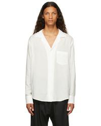 Sulvam White Silver Rayon Open Collar Shirt