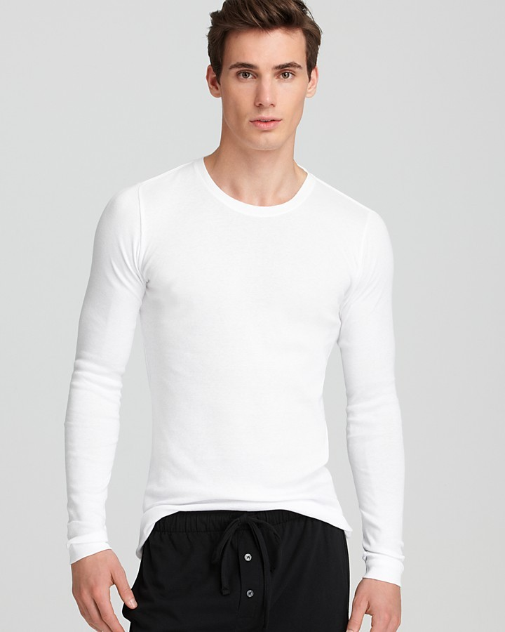 1dcfb8c771f75b ... White Long Sleeve T-Shirts Calvin Klein Body Slim Fit Long Sleeve  Crewneck Tee