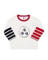 Petit Bateau Logo Long Sleeve T Shirt White Size 6 M