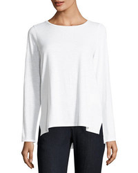 Eileen Fisher Long Sleeve Slubby Organic Cotton Jersey Tee