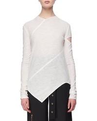 Proenza Schouler Long Sleeve Spiral Tissue Jersey T Shirt White