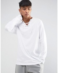 Asos Longline Long Sleeve T Shirt With Lace Up Neck In White