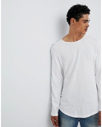 Esprit Longline Longsleeve T Shirt With Curved Hem In White