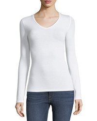 Neiman Marcus Majestic Paris For Soft Touch Long Sleeve V Neck Tee